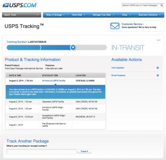 USPS Trackingの画面